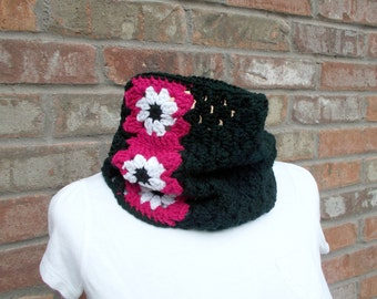 Crochet Cowl Black with Pink and White Granny Square Daisies Neck Scarf Neck Warmer Fall and Winter Accessories Knit Cowl Street Style