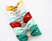 Bright Colorful Hair Bow with Sparkle Stars - Holiday Hair bows - Girls Fashion - Hair Clip - Hairclip - Stocking Stuffer