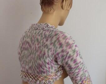Ready to ship Boho Pastel Colors  Cashmere Hand Knit  Crochet   Shrug Bolero, Cover up -  Summer  Fashion- Fall Wedding - Luxury - Size S-M
