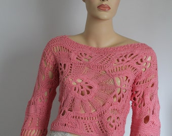 Crochet Sweater, Chic Boho Hippie Lace  Freeform Crochet Knit Sweater  Top, Crop Top  - Summer Fashion   - one of a kind - ready to ship