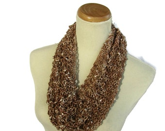 Spring Cowl, Knit Cowl, Hand Knit Cowl, Circle Scarf, Brown Cowl, Gift For Her, Loop Scarf, Women Cowl, Fashion Cowl, Fiber Art, Knit Scarf,
