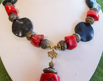 Chunky Cowgirl Necklace Black Oynx  and Coral   Free Shipping in the USA