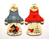 Snowman with Red or Blue Sweater Ornament, Christmas, Handpainted Wood