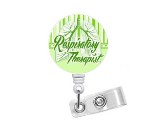 Respitory Therapist Badge Reel Green - RT Badge Holder - Badge Pulls - Respiratory Specialist Badge Clip - Pulmonary Badge Reel - Lung Badge