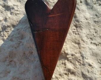 Rustic handmade wood heart made from Texas honey mesquite burl, wall decor, OOAK
