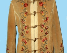 Penny Lane Embroidered Women's Hippie style Jacket with Toggle Buttons, Sz M