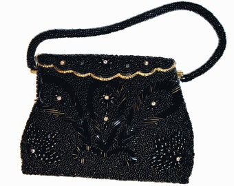 Vintage 1950's Seeded Beads and Beads w/ Rhinestones handbag /Evening Bag