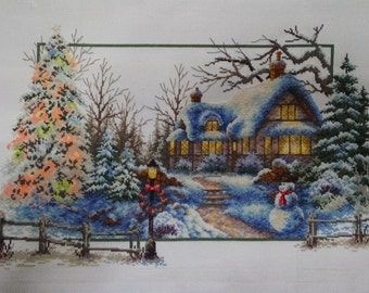 New Finished Completed Cross Stitch - Winter scenery - L14e