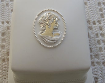 Vintage Ring Box Jewelry Presentation Case White Plastic