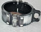 Machined Aluminum Shackle Cuff  - Antiqued Silver