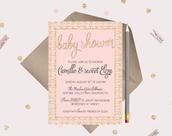 Gold & Pink Baby Shower Invitations