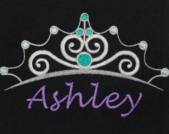 Disney's Little Mermaid inspired t-shirt w embroidered Ariel Tiara and personalized w your name - original artwork - perfect for Disney fans