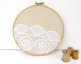 embroidery hoop art with recycled vintage crochet flower collar on linen fabric
