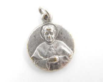Vintage Saint John Bosco - Mary Help of Christians Catholic Medal - Religious St Charm - Rosary Medallion - R61