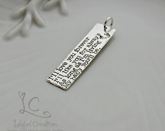 Sterling Silver Hand Stamped Tag, Personalized Rectangle Tag, Personalized Charm, Long Bar Tag, Quote Tag,  Add on Tag, Add a charm