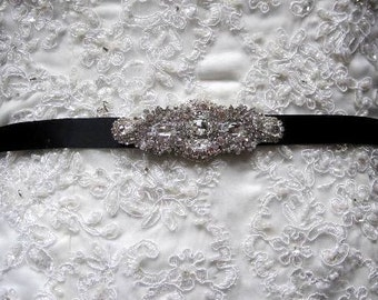 Serena Bridal Dress Gown Beaded Jeweled Crystal Belt Sash Brooch Jeweled Applique