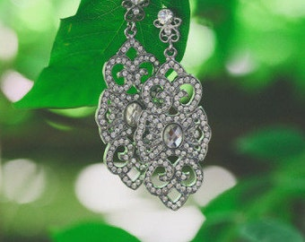 wedding bridal art deco rhinestone crystal earrings chandelier earrings