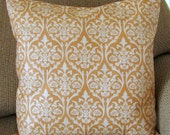 """Orange and Ivory Damask Pillow Cover, 16 Inch Square, Envelope Style Cotton Pillow Cover, """"Apricot Damask"""""""