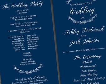 Printed Wedding Program - Style P65 - GARDEN COLLECTION | wedding programs  |  ceremony program  |  programs