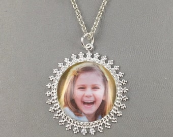 Photo Necklace - Fancy Lace Edge Pendant - Your Personal Photo - 4 Finishes Available