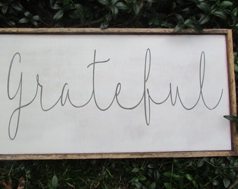Farmhouse Decor Wall Sign, Wood Grateful farmhouse Sign for your fixer upper decor