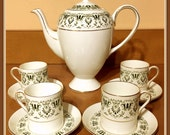 Vintage Royal Tuscan Coffee Pot, Demitasse Cups and Saucers, Espresso, Setting for Four, Fine Bone China, England