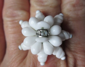 VINTAGE FLOWER RING, Upcycled, White with Rhinestone Center, Repurposed Jewelry, Adjustable Band, Under 10 Dollars