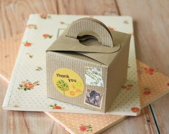 Ribbed Brown Kraft Square Favour boxes