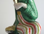 Rare Large Vintage Italian Majolica Harlequin Monkey with Banana Figurine