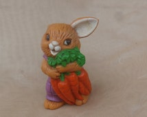Little Easter Rabbit Figurine, Avon PVC Toy Figure, Brown Bunny with Carrots