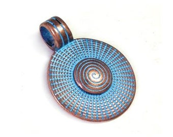 Spiral Round pendant with bail, Blue patina on copper, Rose Gold Greek metal casting Cast Charm Round 23mm DIY TH297 - 1 pc