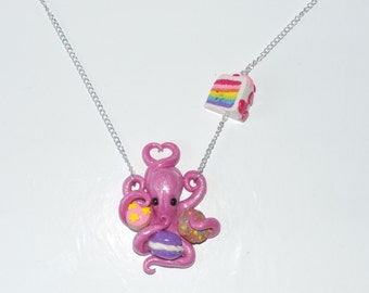 Pink sweet tooth sugared octopus necklace, donut, rainbow layer cake,  chocolate chip cookie, macaroon