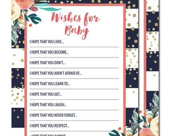 Wishes for Baby Cards, Navy Gold and Coral, Baby Girl Shower, Baby Shower Games, Baby Wishes