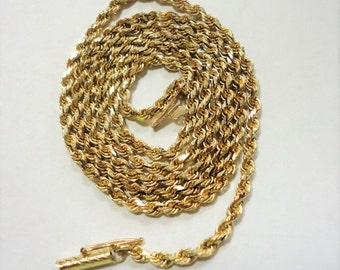 """Gold Chain 14k Gold Rope Chain Solid Link 20"""" Chain Vintage Solid Gold Rope Chain 9.4 Grams 2mm Wide Diamond Cut Solid 14k Gold Rope"""