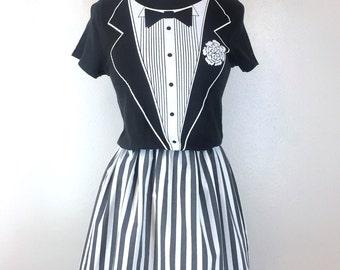 Vintage Tuxedo Tux Tee T-Shirt Black & White Stripe Dress