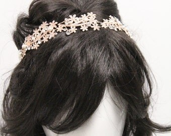 Wedding Hair Wreaths & Tiaras,Bridal hair accessories rose gold Wedding headband,Pearl Bridal headband,Wedding hair piece,Bridal hair piece