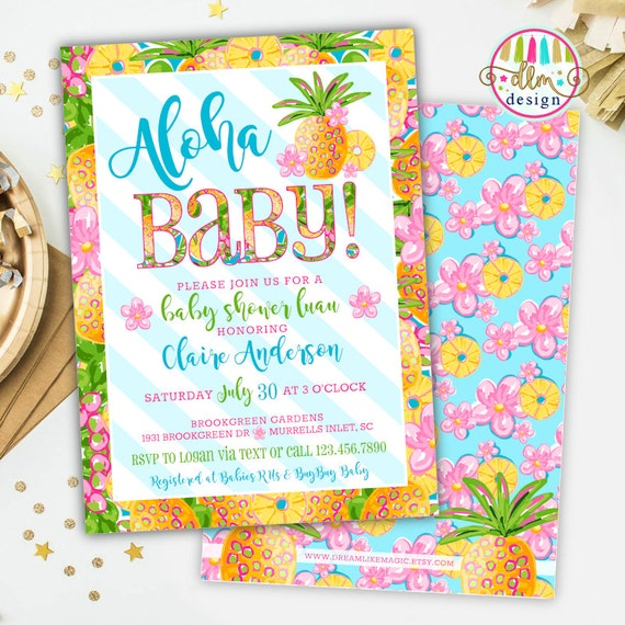Aloha Baby Tropical Baby Shower Invitation Girl Baby Shower