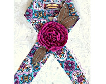 Fuchsia and  Turquoise Floral Headwrap Linen Flower Headwrap Headband Tichel Sash Headcover Flower Headwrap Gifts for Her