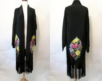 Elegant 1920's Embroidered Lounge Cocktail Coat with Long Fringe Old Hollywood Starlet Boudoir Great Gatsby Downton Abby Size-Small-Medium