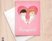 Bride & Bride Pink Heart Wedding Congrats - Lesbian Wedding - Same Sex Wedding Congratulations Greeting Card