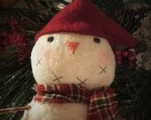 Primitive Handmade Snowman ' Bjorn ' ~~ Primitive Christmas ~~ Primitive Home Decor ~~ Ornament ~~WWOFG ~~ DTHFAAP ~~ HDM ~~ Winter ~~ Yule