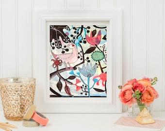 Moraira- 8x10 print. Folk flowers, art painting flowers, bohemian, folk, funky, naive, primitive.