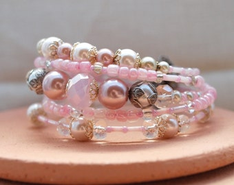 Pink and Cream Crystal and Pearl Wrap Bracelet