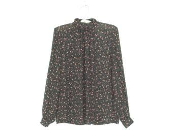 Romantic Floral Blouse * Vintage Secretary Shirt * Black Blouse * Small / Medium