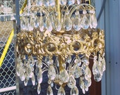 Leaded Glass Crystal Chandeliers with gold gilt Victorian style frames.  VINTAGE. Approx. 15 to 20 inch diameters