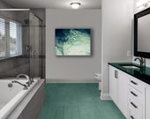 Bathroom Wall Art In Teal- Modern & Abstract Powder Room Art- Green Blue Bubbles Photography on Canvas