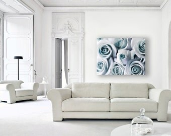 Blue Rose Canvas Wall Art, Pastel Decor, Blue, Bedroom Wall Art, Flower Canvas, 16x20 Canvas, Shabby Chic