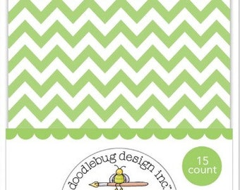 Lime Chevron Treat Bags - Small, Mini Paper Bag - Candy, Favor, Treat, Party, Trinket, Paper Pocket - Green and White