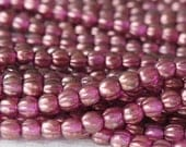 100 - 5mm Melon Bead - Czech Glass Beads - Jewelry making Supply - Matte Frosted Rose Gold Shimmer - CHOOSE AMOUNT