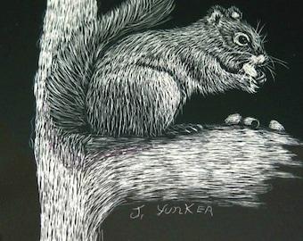 Squirrel Art Squirrel Decor Scratch Art Black White Drawing Etching  Woodland Animal Art Forest Animal Decor Wildlife Art Scratchboard